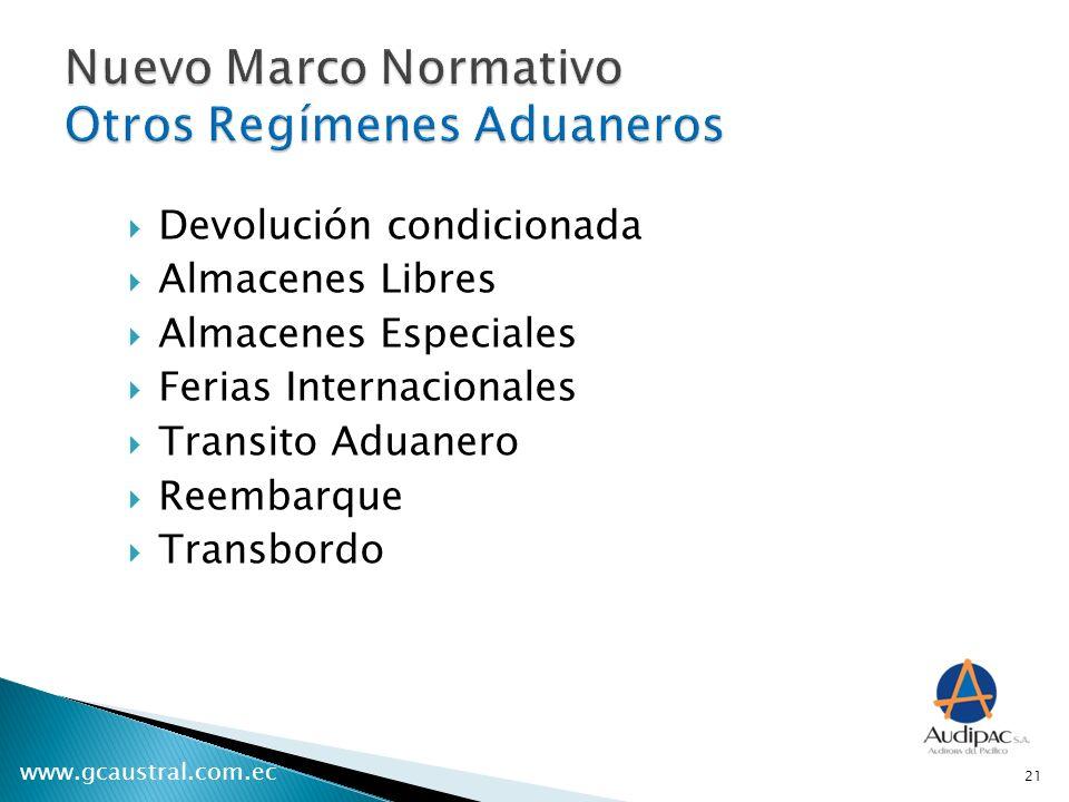 Nuevo Marco Normativo Otros Regímenes Aduaneros