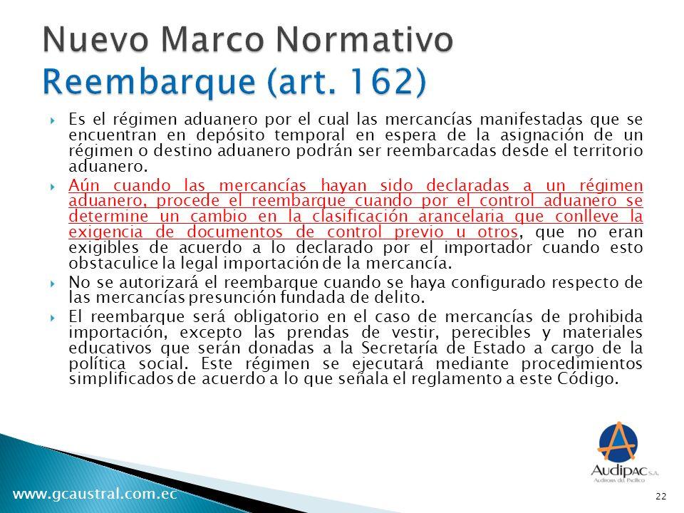 Nuevo Marco Normativo Reembarque (art. 162)