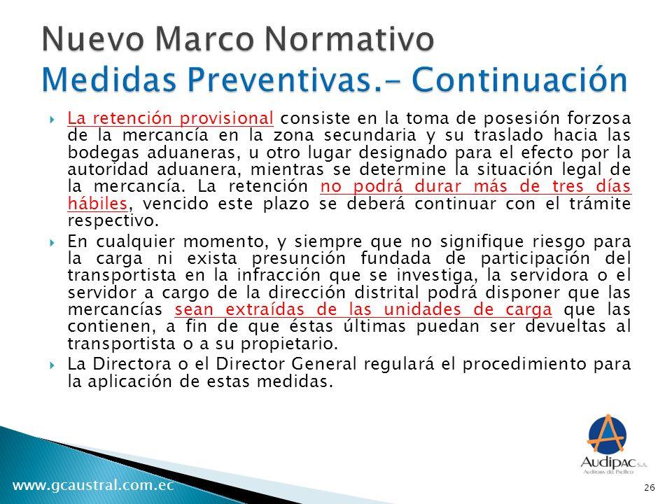 Nuevo Marco Normativo Medidas Preventivas.- Continuación