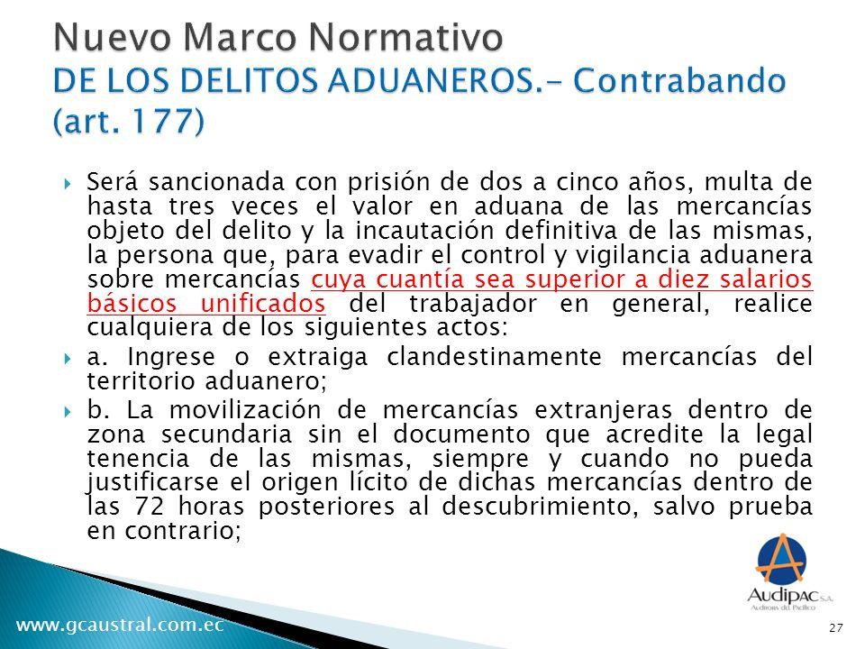 Nuevo Marco Normativo DE LOS DELITOS ADUANEROS. - Contrabando (art