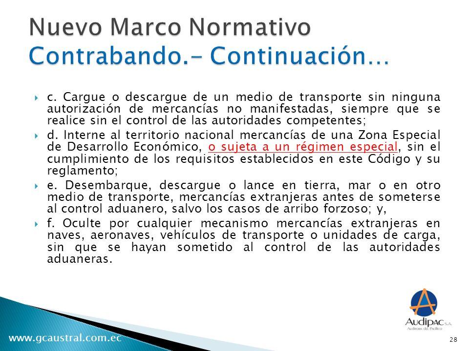 Nuevo Marco Normativo Contrabando.- Continuación…