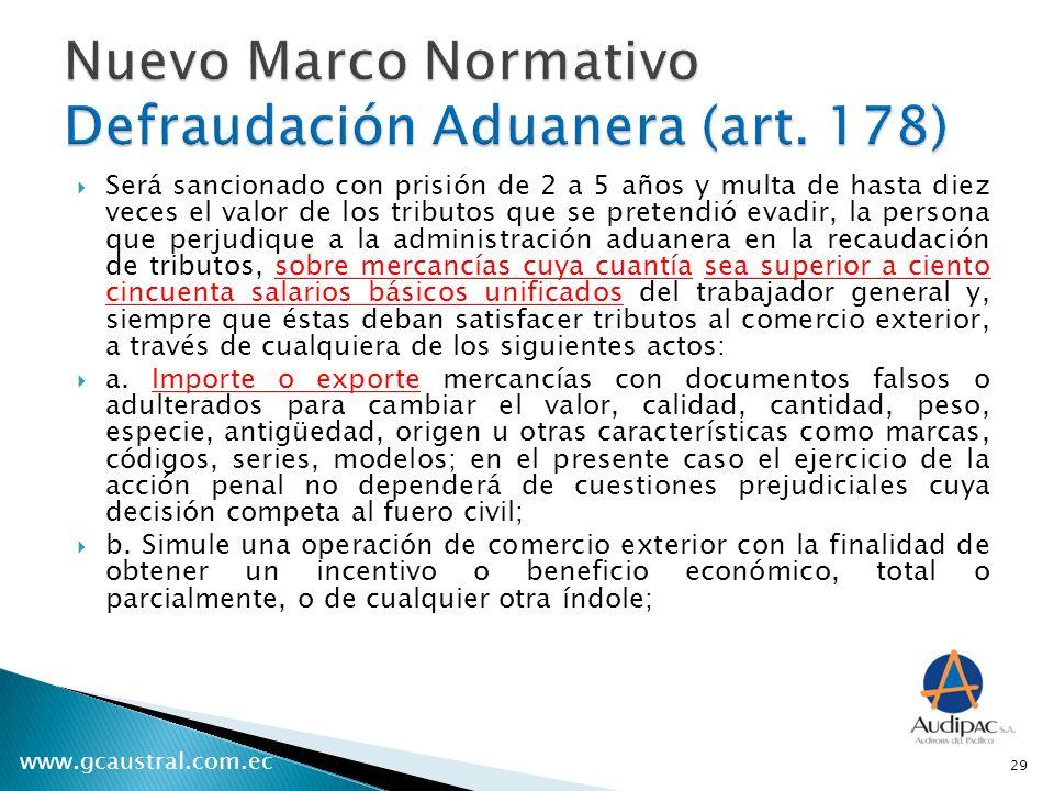 Nuevo Marco Normativo Defraudación Aduanera (art. 178)
