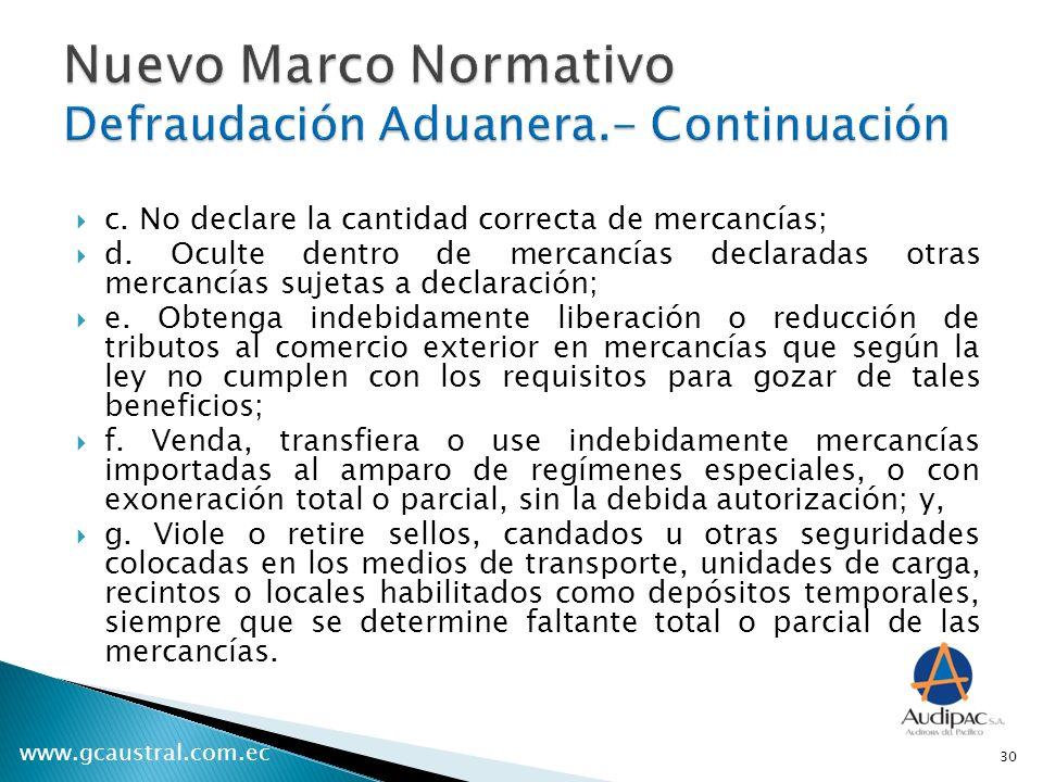 Nuevo Marco Normativo Defraudación Aduanera.- Continuación