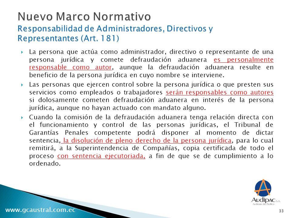 Nuevo Marco Normativo Responsabilidad de Administradores, Directivos y Representantes (Art. 181)