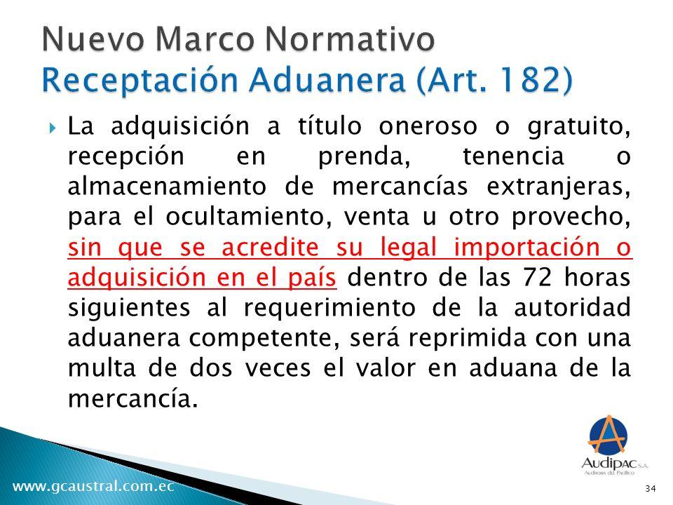 Nuevo Marco Normativo Receptación Aduanera (Art. 182)