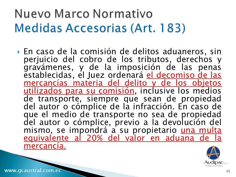 Nuevo Marco Normativo Medidas Accesorias (Art. 183)