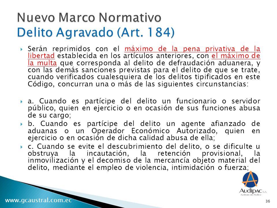 Nuevo Marco Normativo Delito Agravado (Art. 184)