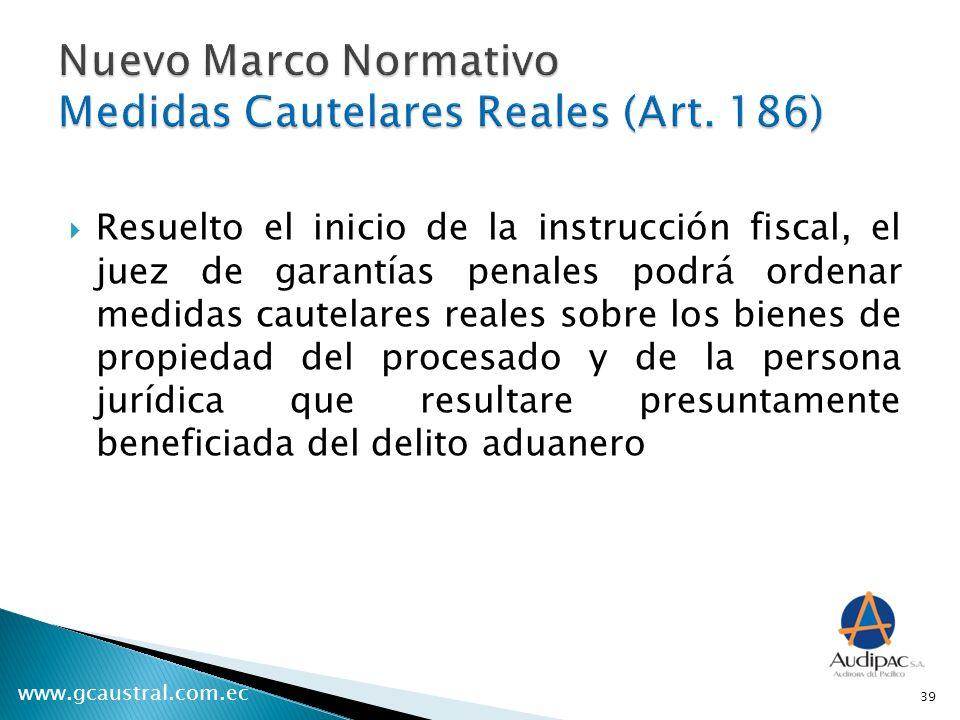 Nuevo Marco Normativo Medidas Cautelares Reales (Art. 186)