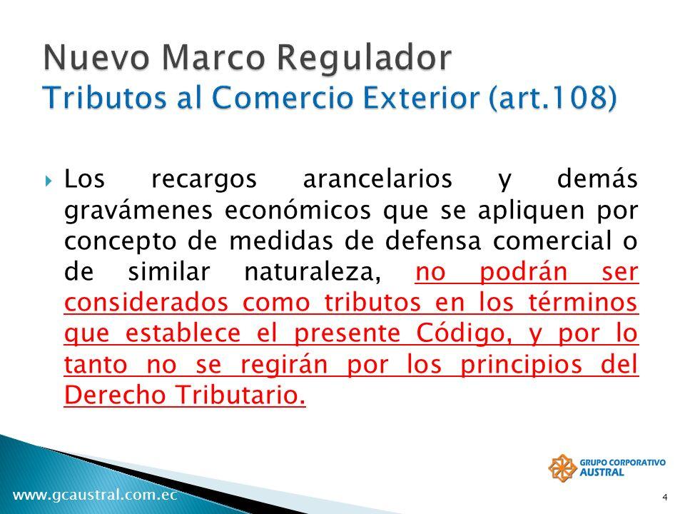 Nuevo Marco Regulador Tributos al Comercio Exterior (art.108)