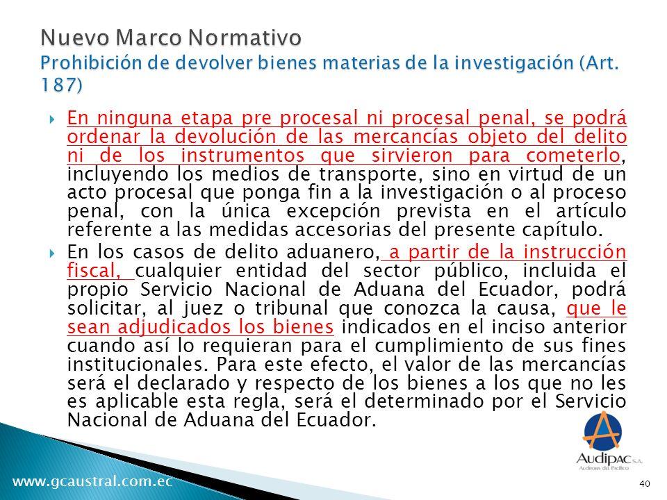 Nuevo Marco Normativo Prohibición de devolver bienes materias de la investigación (Art. 187)