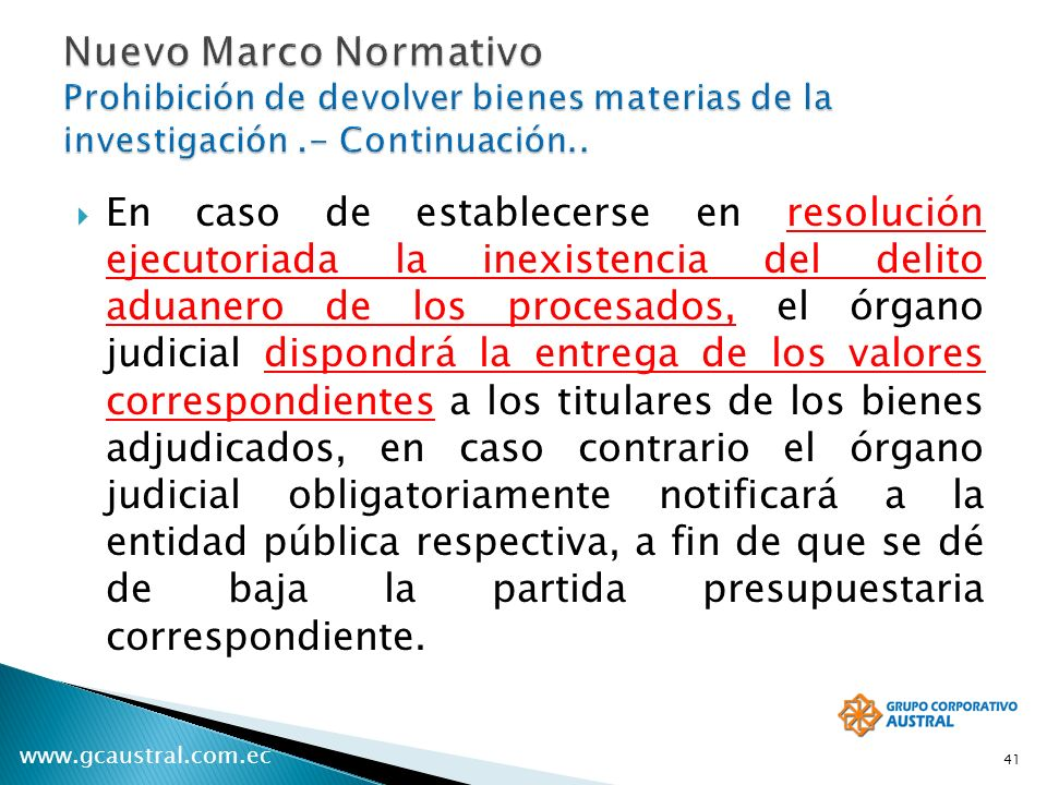 Nuevo Marco Normativo Prohibición de devolver bienes materias de la investigación .- Continuación..