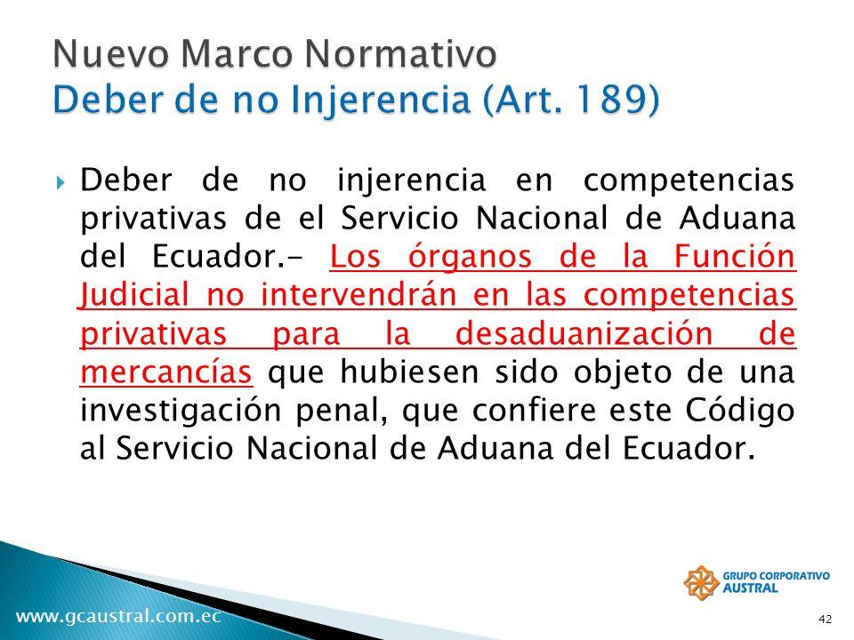 Nuevo Marco Normativo Deber de no Injerencia (Art. 189)