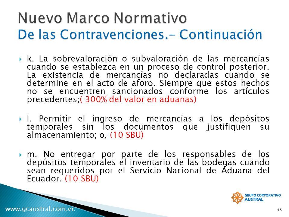Nuevo Marco Normativo De las Contravenciones.- Continuación