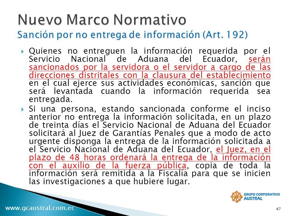 Nuevo Marco Normativo Sanción por no entrega de información (Art. 192)