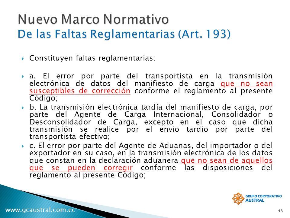 Nuevo Marco Normativo De las Faltas Reglamentarias (Art. 193)