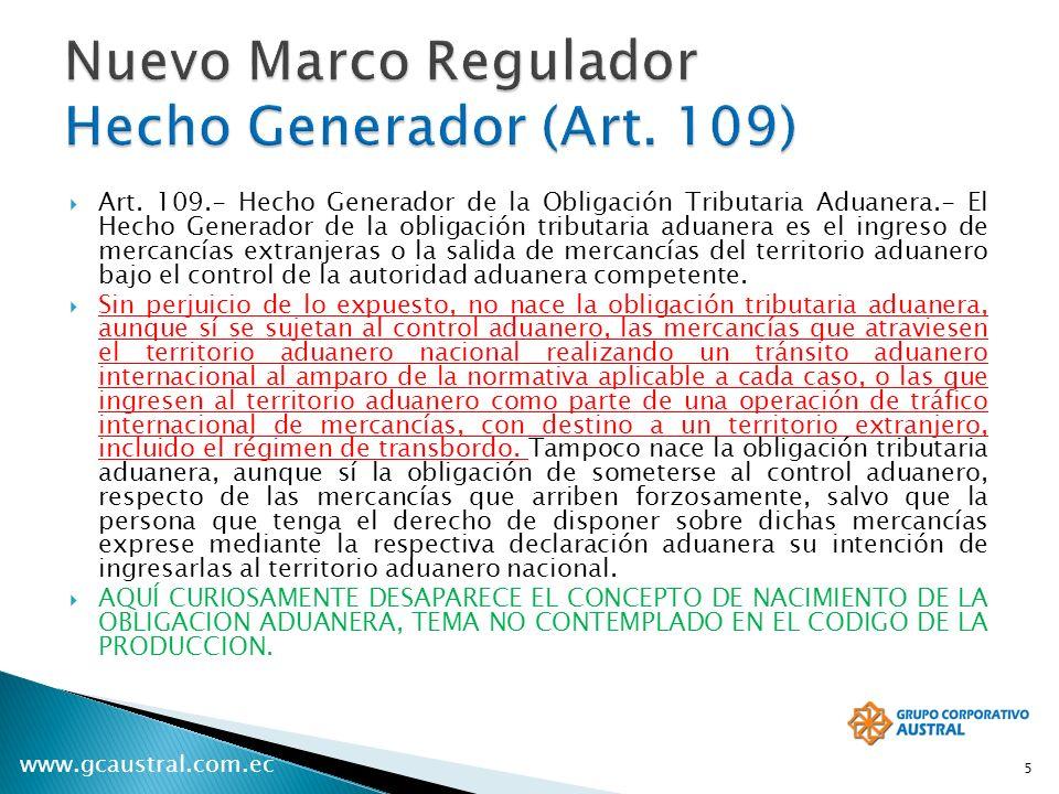 Nuevo Marco Regulador Hecho Generador (Art. 109)