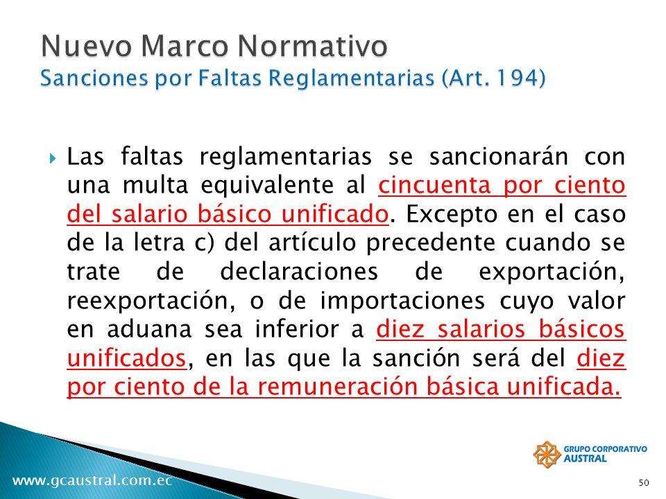 Nuevo Marco Normativo Sanciones por Faltas Reglamentarias (Art. 194)