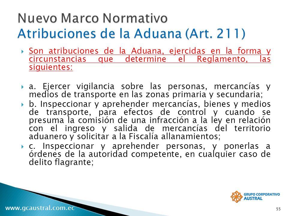 Nuevo Marco Normativo Atribuciones de la Aduana (Art. 211)