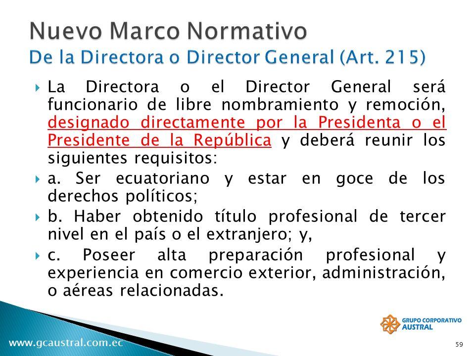 Nuevo Marco Normativo De la Directora o Director General (Art. 215)