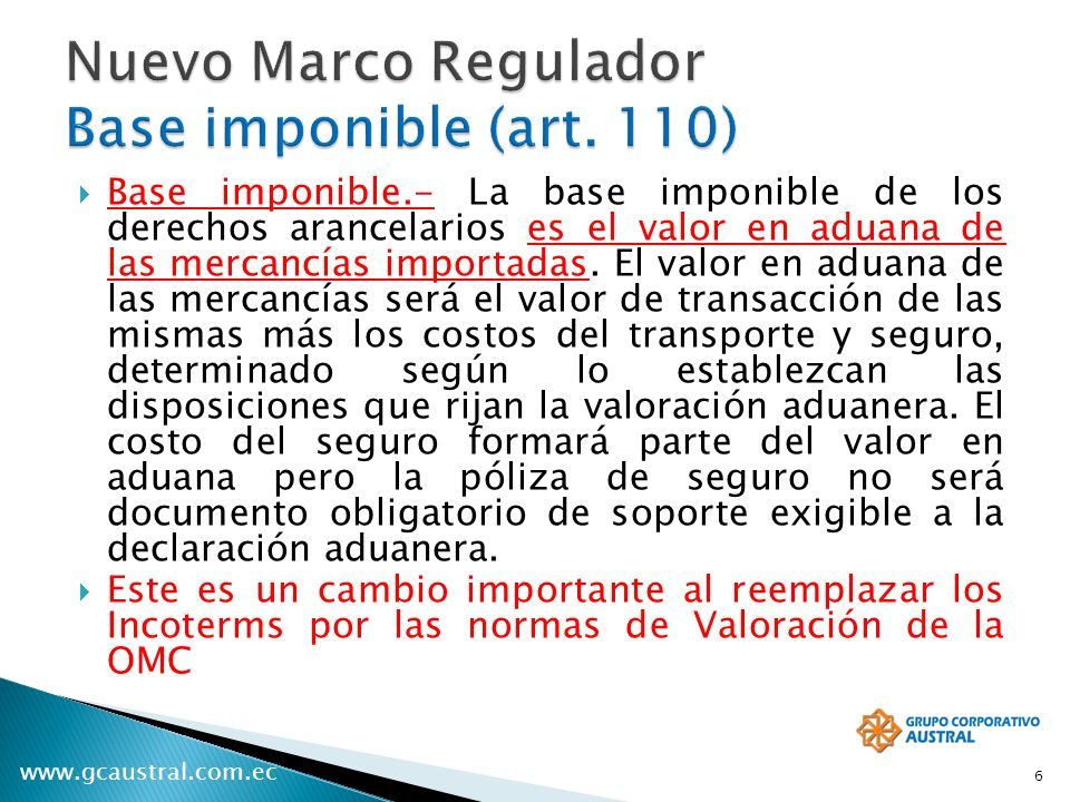 Nuevo Marco Regulador Base imponible (art. 110)