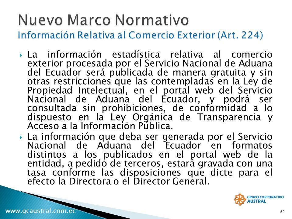 Nuevo Marco Normativo Información Relativa al Comercio Exterior (Art