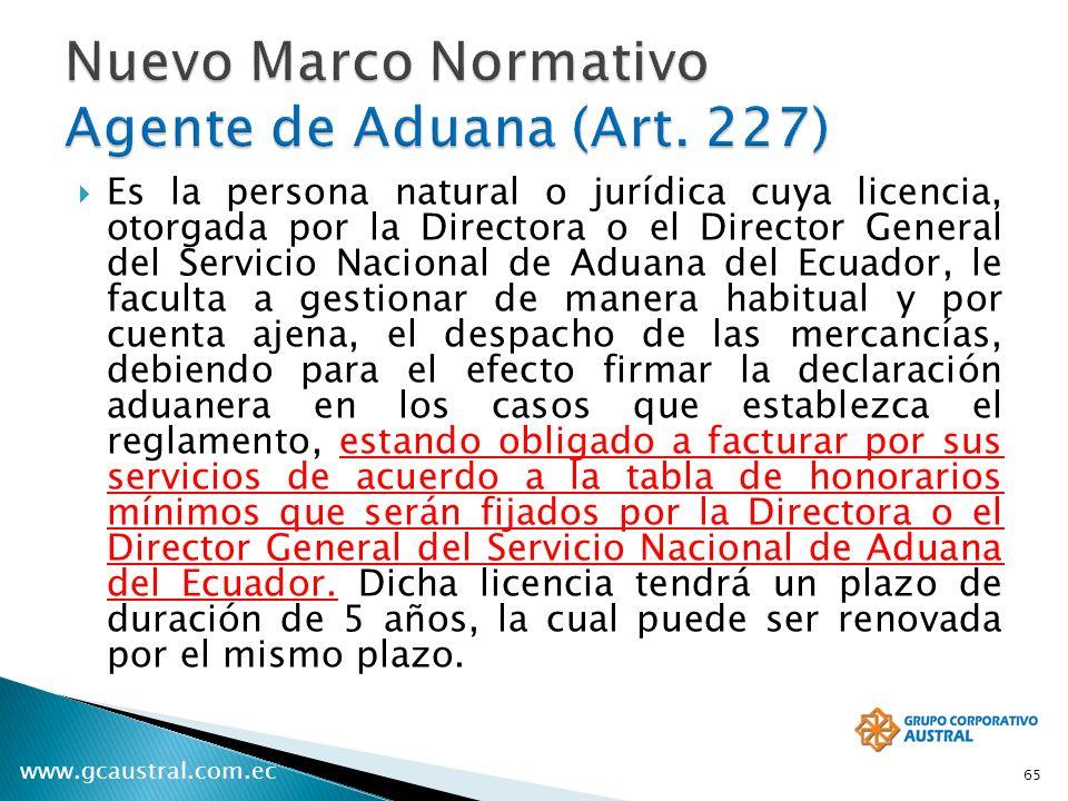 Nuevo Marco Normativo Agente de Aduana (Art. 227)