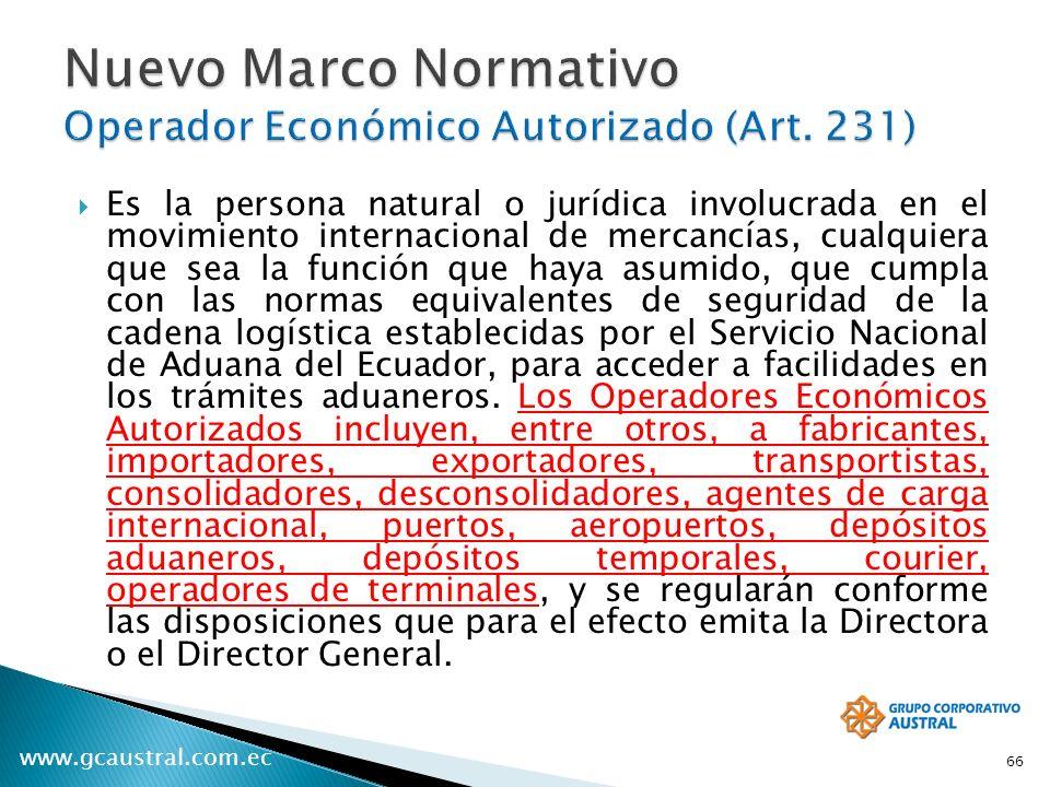 Nuevo Marco Normativo Operador Económico Autorizado (Art. 231)