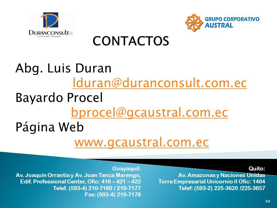 CONTACTOS Abg. Luis Duran lduran@duranconsult.com.ec Bayardo Procel