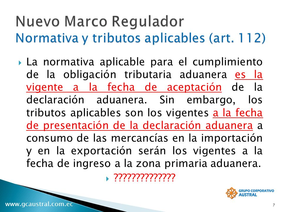 Nuevo Marco Regulador Normativa y tributos aplicables (art. 112)