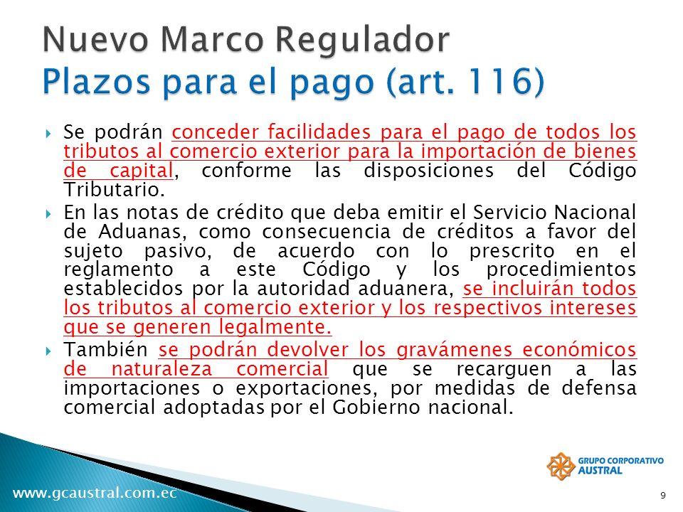 Nuevo Marco Regulador Plazos para el pago (art. 116)