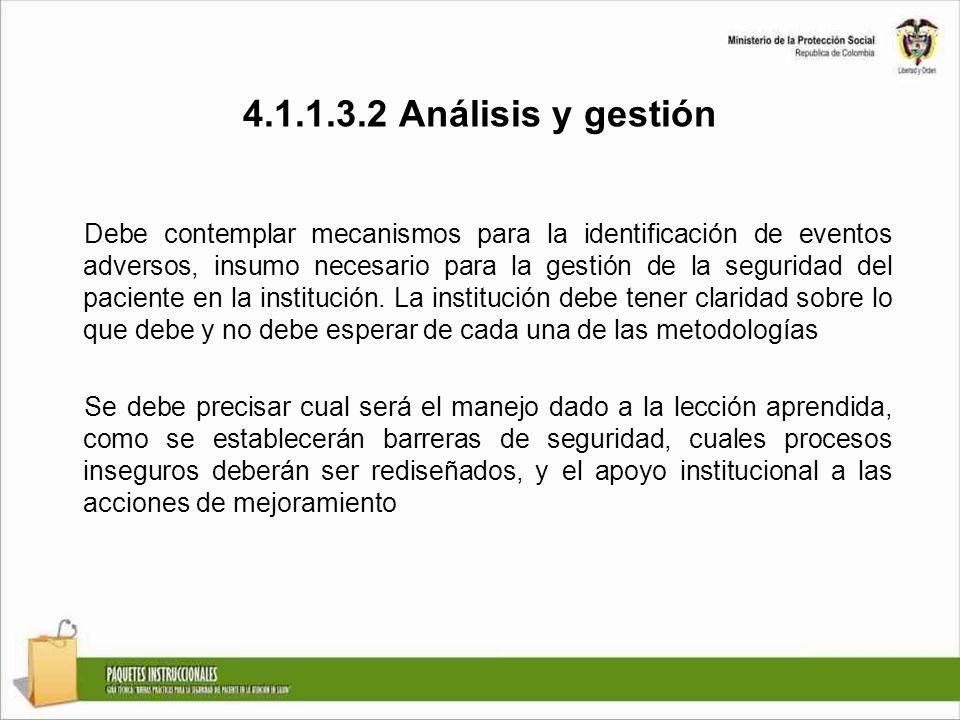 4.1.1.3.2 Análisis y gestión