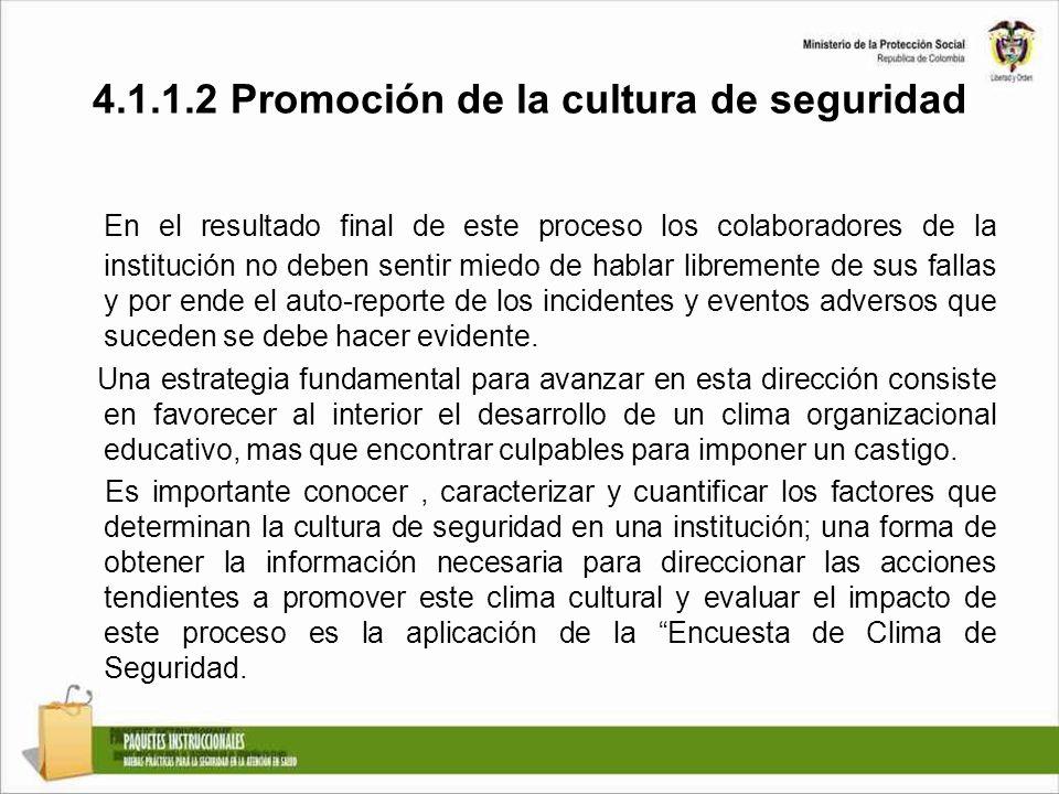 4.1.1.2 Promoción de la cultura de seguridad