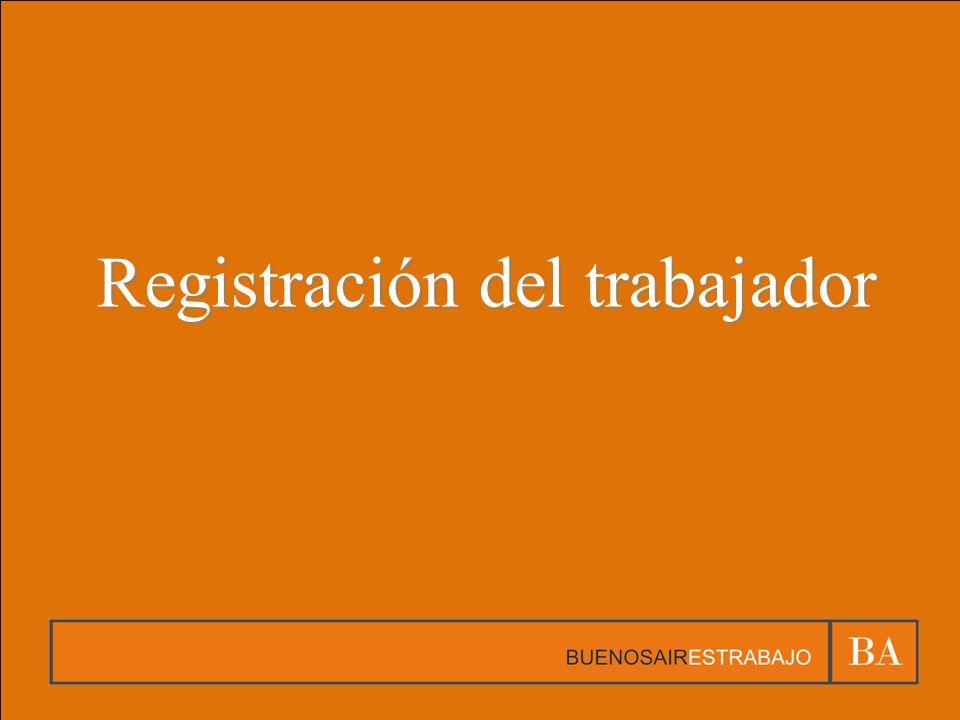 Registración del trabajador