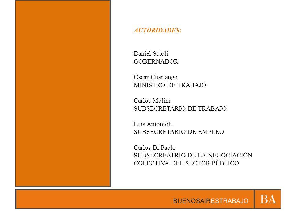 AUTORIDADES: Daniel Scioli. GOBERNADOR. Oscar Cuartango. MINISTRO DE TRABAJO. Carlos Molina. SUBSECRETARIO DE TRABAJO.