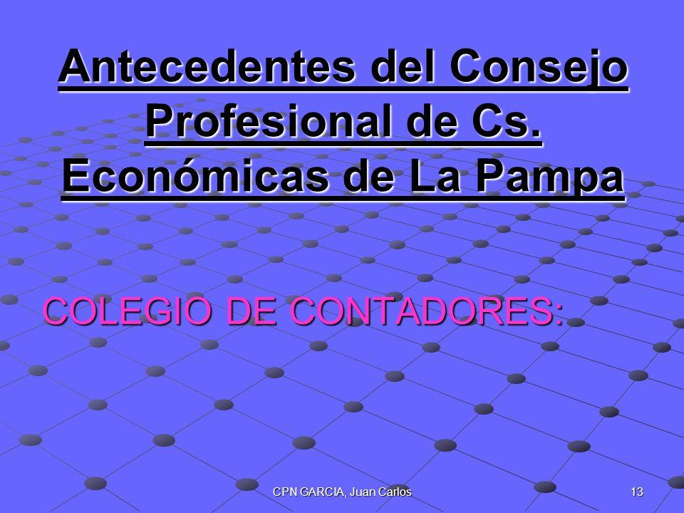 Antecedentes del Consejo Profesional de Cs. Económicas de La Pampa