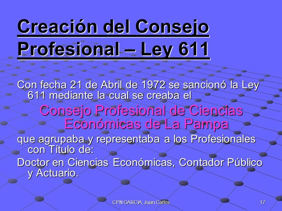 Creación del Consejo Profesional – Ley 611