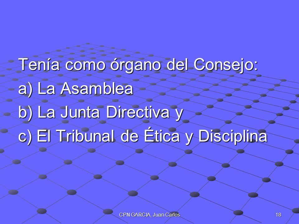 Tenía como órgano del Consejo: a) La Asamblea b) La Junta Directiva y