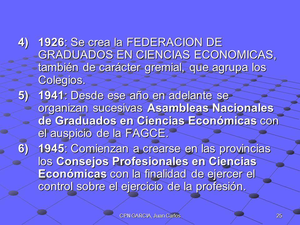 1926: Se crea la FEDERACION DE GRADUADOS EN CIENCIAS ECONOMICAS, también de carácter gremial, que agrupa los Colegios.