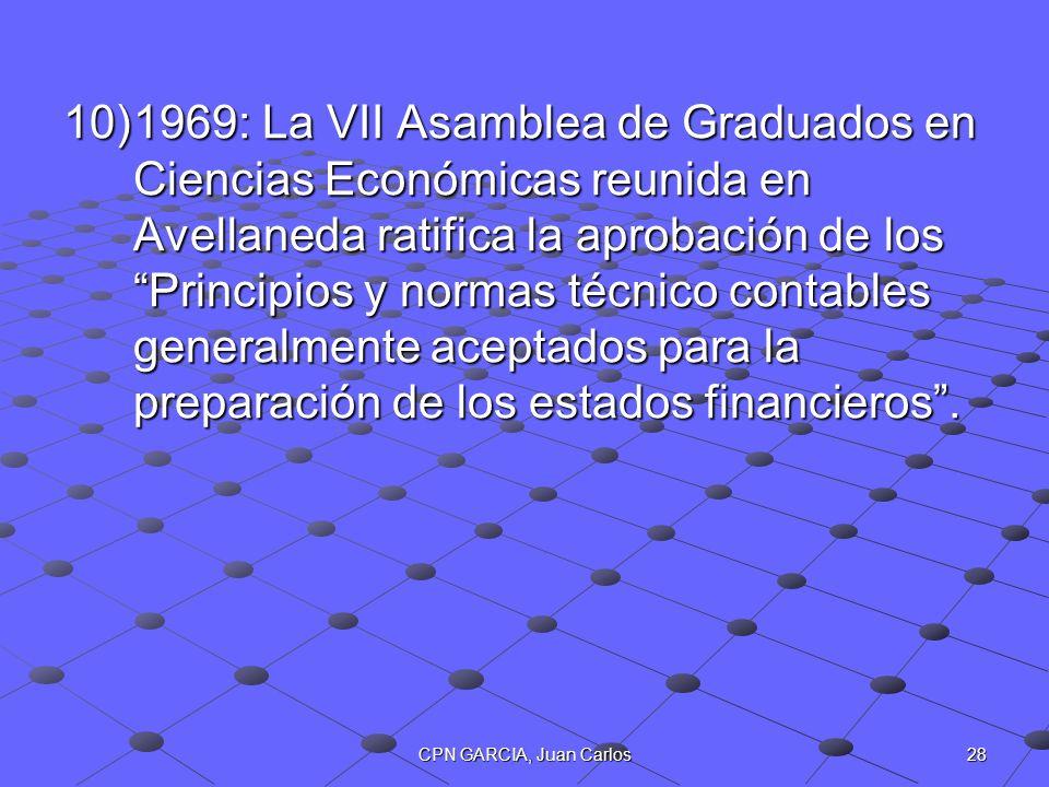 1969: La VII Asamblea de Graduados en Ciencias Económicas reunida en Avellaneda ratifica la aprobación de los Principios y normas técnico contables generalmente aceptados para la preparación de los estados financieros .