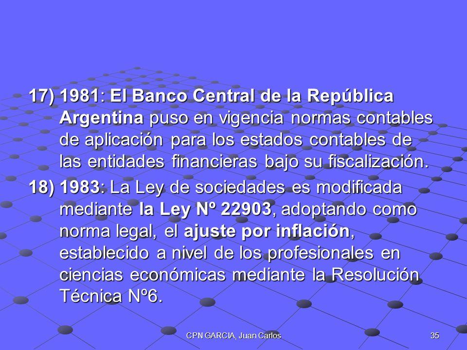 1981: El Banco Central de la República Argentina puso en vigencia normas contables de aplicación para los estados contables de las entidades financieras bajo su fiscalización.