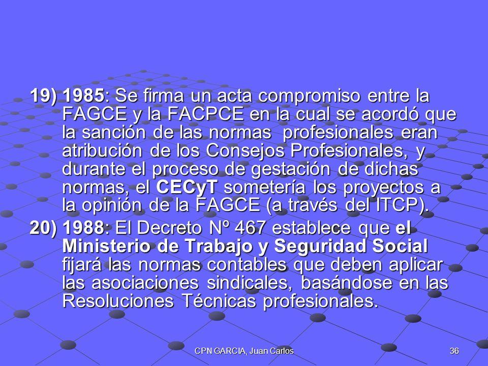 1985: Se firma un acta compromiso entre la FAGCE y la FACPCE en la cual se acordó que la sanción de las normas profesionales eran atribución de los Consejos Profesionales, y durante el proceso de gestación de dichas normas, el CECyT sometería los proyectos a la opinión de la FAGCE (a través del ITCP).
