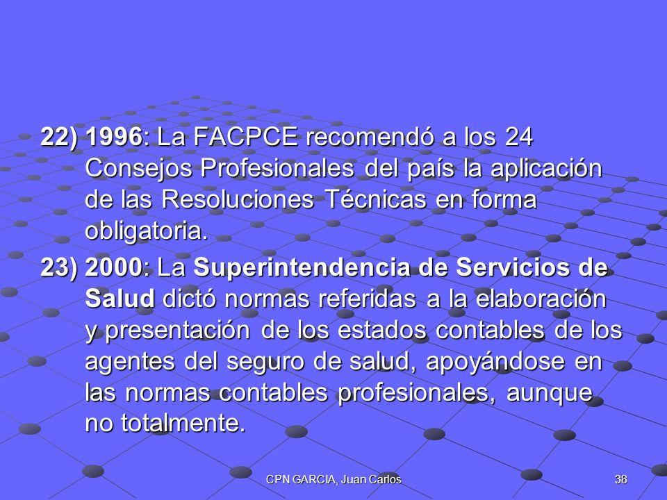 1996: La FACPCE recomendó a los 24 Consejos Profesionales del país la aplicación de las Resoluciones Técnicas en forma obligatoria.