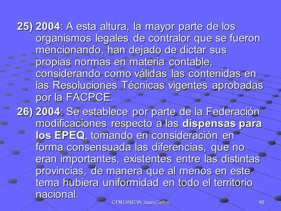 2004: A esta altura, la mayor parte de los organismos legales de contralor que se fueron mencionando, han dejado de dictar sus propias normas en materia contable, considerando como válidas las contenidas en las Resoluciones Técnicas vigentes aprobadas por la FACPCE.