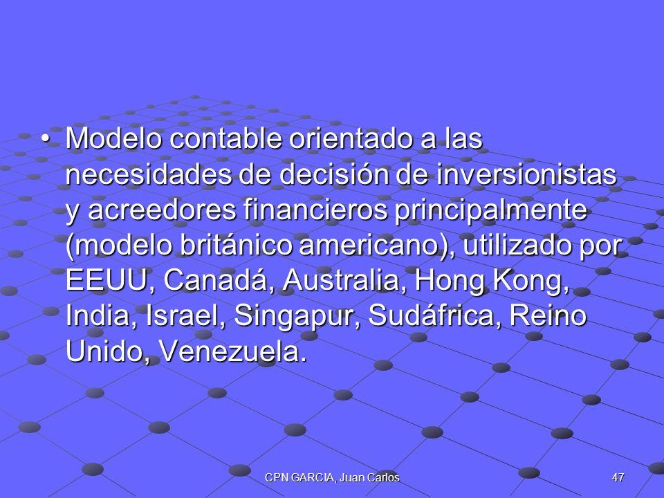 Modelo contable orientado a las necesidades de decisión de inversionistas y acreedores financieros principalmente (modelo británico americano), utilizado por EEUU, Canadá, Australia, Hong Kong, India, Israel, Singapur, Sudáfrica, Reino Unido, Venezuela.