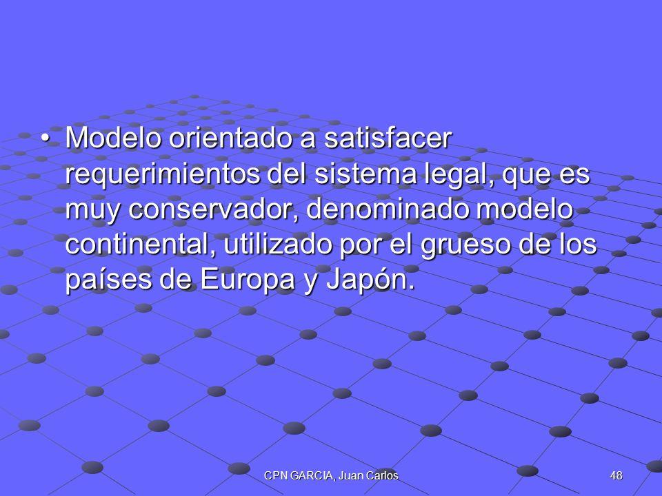 Modelo orientado a satisfacer requerimientos del sistema legal, que es muy conservador, denominado modelo continental, utilizado por el grueso de los países de Europa y Japón.