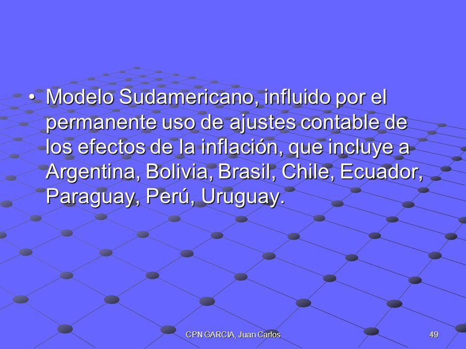Modelo Sudamericano, influido por el permanente uso de ajustes contable de los efectos de la inflación, que incluye a Argentina, Bolivia, Brasil, Chile, Ecuador, Paraguay, Perú, Uruguay.