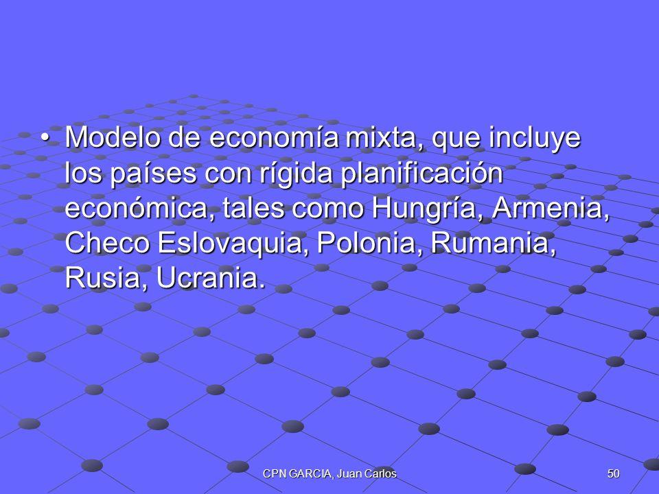 Modelo de economía mixta, que incluye los países con rígida planificación económica, tales como Hungría, Armenia, Checo Eslovaquia, Polonia, Rumania, Rusia, Ucrania.