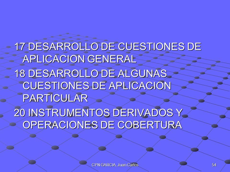 17 DESARROLLO DE CUESTIONES DE APLICACION GENERAL