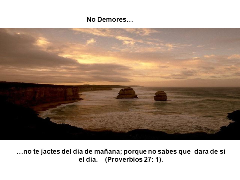No Demores… …no te jactes del dia de mañana; porque no sabes que dara de si el dia.
