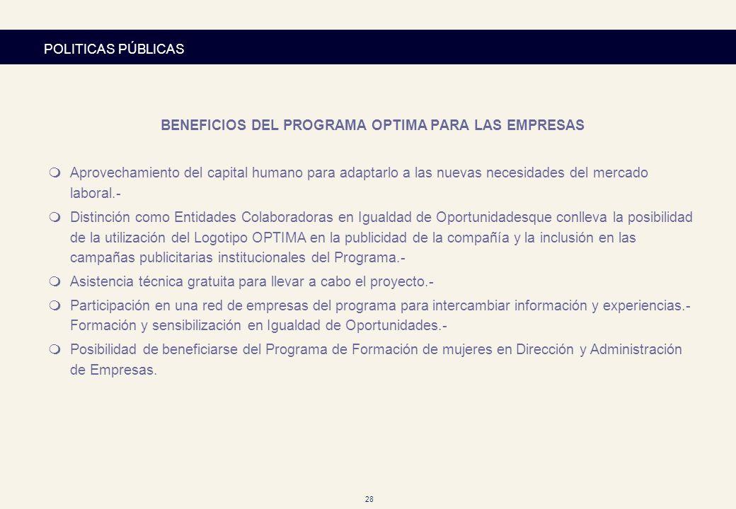 BENEFICIOS DEL PROGRAMA OPTIMA PARA LAS EMPRESAS